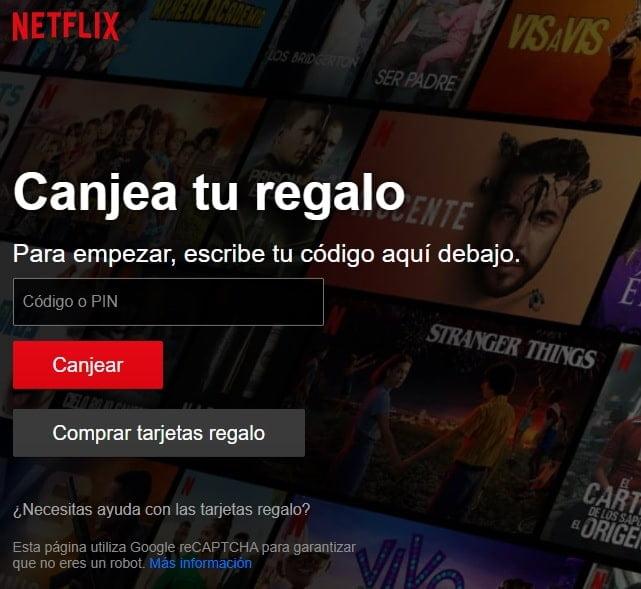 Netflix canjear código de tarjeta prepago